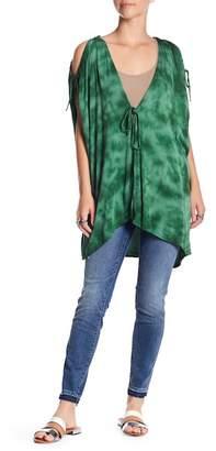 Green Dragon Tie-Dye Cold Shoulder Kaftan