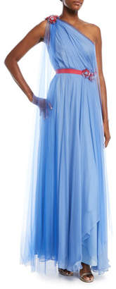 Talbot Runhof One-Shoulder Draped Tulle Evening Gown