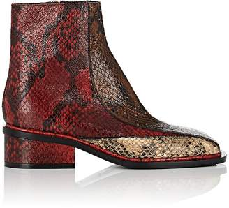 Dries Van Noten Women's Snakeskin-Stamped Leather Ankle Boots