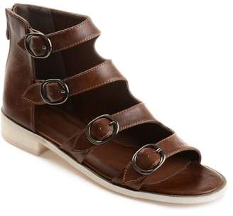 Co Brinley Collection Brinley Womens Faux Leather High-top Distressed Side Buckle Sandals