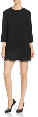 Paule Ka Faux-Feather Detail Mini Dress