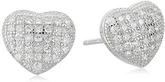 Sterling Petite Micro Pave Cubic Zirconia Heart Stud Earrings