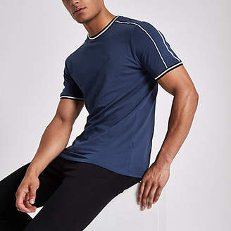 River Island Navy crew neck piped T-shirt