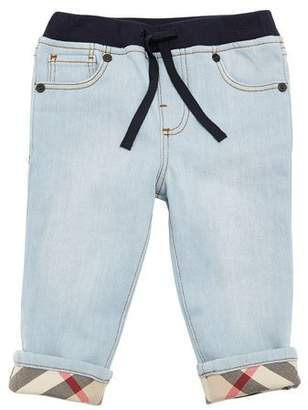 Burberry Relaxed Denim Jeans w/ Check Cuffs, Size 6M-3