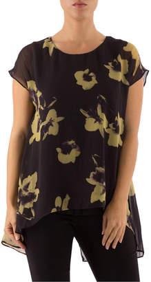 Drop Shoulder Arty Floral Double Layer Top