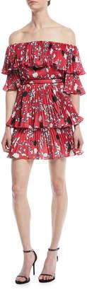 Self-Portrait Self Portrait Pleated Off-the-Shoulder Floral-Print Mini Dress