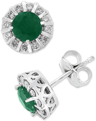 Effy Brasilica by Emerald (9/10 ct. t.w.) & Diamond (1/3 ct. t.w.) Stud Earrings in 14k White Gold