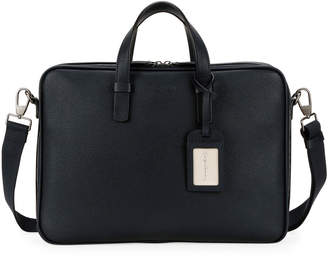 Giorgio Armani Men's Leather Briefcase Bag with ID Tag