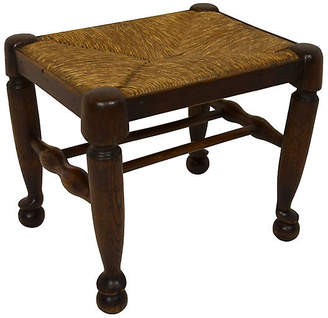 One Kings Lane Vintage 19th-C. French Oak & Rush Cane Stool - Countryside Antiques