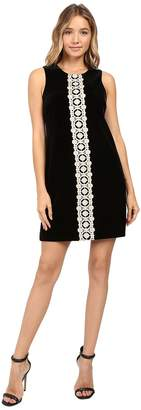 Jessica Simpson Solid Velvet Dress with Metallic Lace Trim Women's Dress