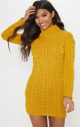 ea6b2887049276 PrettyLittleThing Mustard Cable Knit High Neck Jumper Dress
