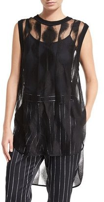 DKNY Sleeveless Sheer Patterned Tunic, Black $398 thestylecure.com