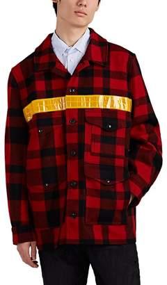 Junya Watanabe Comme des Garçons Men's Cruiser Reflective-Trimmed Plaid Wool Jacket