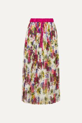Dolce & Gabbana Pleated Printed Chiffon Midi Skirt - Ivory