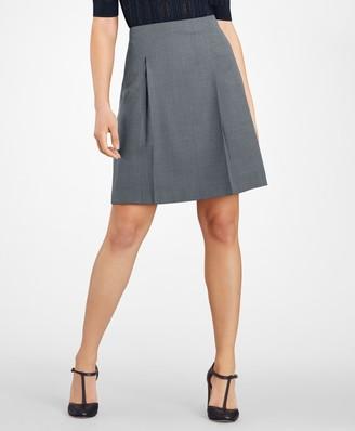 Brooks Brothers Bird's-Eye Stretch-Wool Pleated Skirt