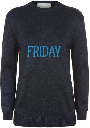 Alberta Ferretti Lame Rainbow Week Slogan Sweater