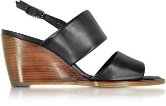 Robert Clergerie Gumi Black Leather Wedge Sandal