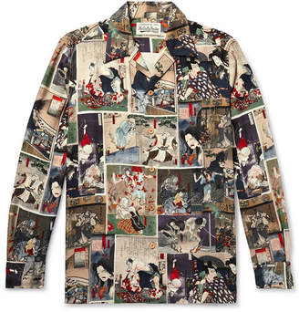 Wacko Maria Camp-Collar Printed Lyocell Shirt