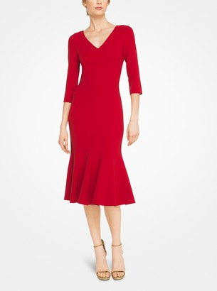 Michael Kors Stretch Wool-Crepe V-Neck Dress