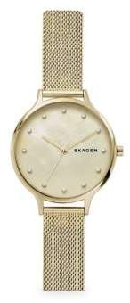 Skagen Anita Mother-of-Pearl Goldtone Steel-Mesh Watch