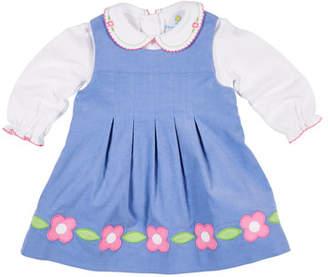 Florence Eiseman Corduroy Flower Dress w/ Peter Pan-Collar Top, Size 12-24 Months