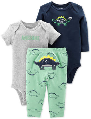 Carter's Carter Baby Boys 3-Pc. Cotton Dinosaurs Bodysuits & Pants Set