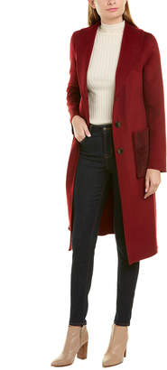 Tahari Double Pocket Long Wool-Blend Coat