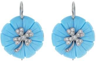 Cathy Waterman Turquoise Flower Clover Earrings - Platinum