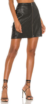 BCBGMAXAZRIA Leather Lace Up Mini Skirt