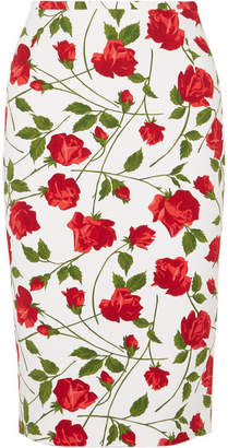 Michael Kors Floral-print Cady Skirt - Red