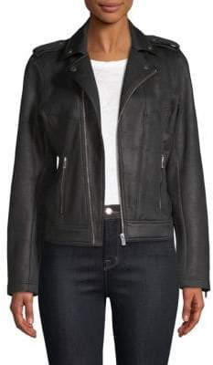 The Kooples Leather Effect Biker Jacket