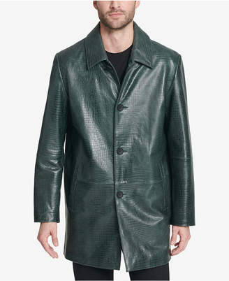 DKNY Men's Leather Croc Classic Overcoat Jacket, Created for Macy's