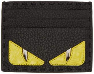 Fendi Black Croc Bag Bugs Card Holder