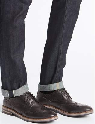 Marks and Spencer Extra Wide Fit Leather Trisole Brogue Shoes