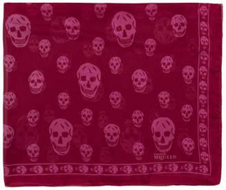 Alexander McQueen Burgundy and Pink Silk Skull Scarf