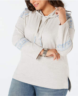 Style&Co. Style & Co Plus Size Cotton Embellished Hoodie Sweatshirt, Created for Macy's