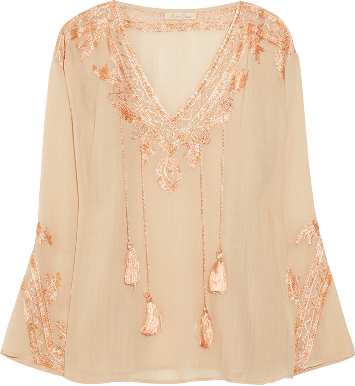 Love Sam Embroidered cotton-blend blouse