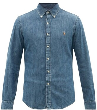 Polo Ralph Lauren Logo Embroidered Slim Fit Chambray Shirt - Mens - Denim