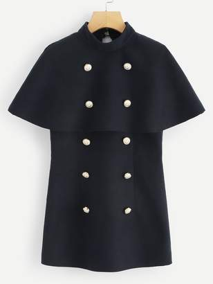 Shein Double Button Embellished Cape Coat