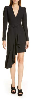 Michael Kors Collection Belted Long Sleeve Asymmetrical Dress