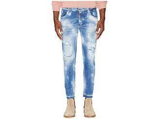 DSQUARED2 Light Super Bleached Holes Skater Jeans