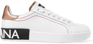 Dolce & Gabbana Logo-embellished Metallic-trimmed Leather Sneakers - White