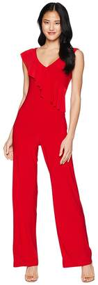 Bebe Asymmetrical Ruffle Jumpsuit Women's Jumpsuit & Rompers One Piece