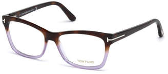 Tom Ford Square Two-Tone Optical Frames, Brown/Purple