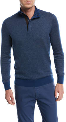 Ermenegildo Zegna Birdseye-Knit Quarter-Zip Sweater