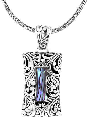 "Bali Heritage Signature Carving Paua Sterling Silver Pendant Necklace, 20"" Length"
