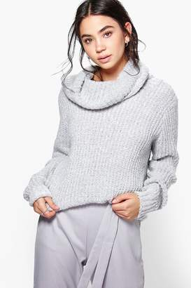 boohoo Faith Boucle Crop Cowl Neck Jumper