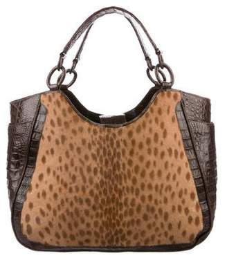 ad39c3a3a3eb Pre-Owned at TheRealReal · Nancy Gonzalez Ponyhair-Trimmed Crocodile Hobo  w  Tags