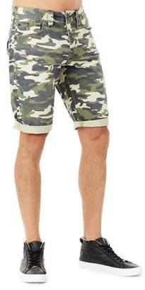 True Religion Men's Ricky Camouflage Flap-Pocket Rolled-Cuff Denim Shorts