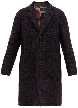 Etro Check Wool Blend Boucle Overcoat - Mens - Blue